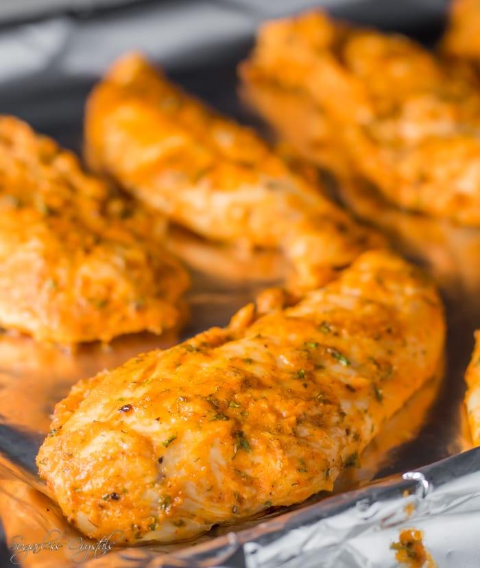 Healthy Buffalo Ranch Baked Chicken Strips