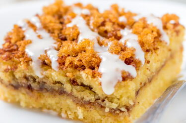 keto dessert example is a keto coffee cake with drizzled icing