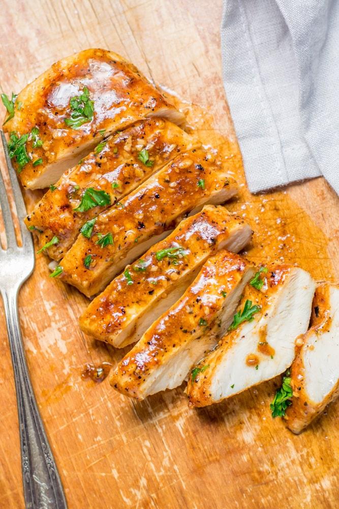 slice garlic butter chicken breast