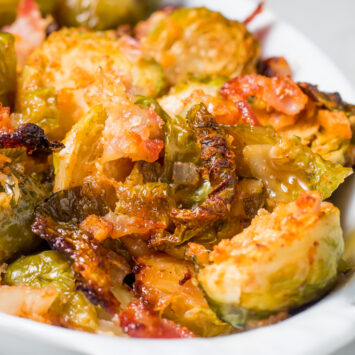 Keto Brussel Sprouts with bacon and parmesan cheese
