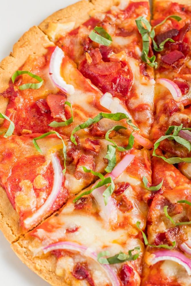 Keto pizza on a almond flour crust